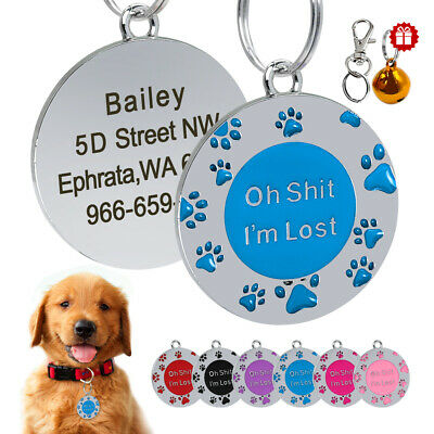"""Oh Shit,I'm Lost"" Engraved Pet ID Tags Name Personalized Dog Cat Collar Paw Tag"