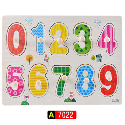 Toy Puzzle Plate Toy 1/Sets VAROIUS Number Educational Various Wood Numbers New