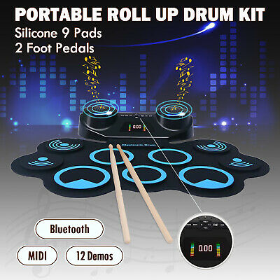 Portable 9 Pads Electronic Roll Up Drum Kit Silicone MIDI Bluetooth Drum Machine
