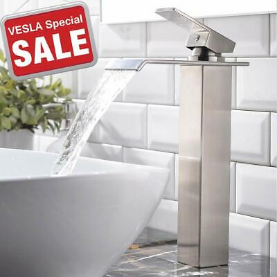 BWE Waterfall Deck Mount Brushed Nickel Bathroom Sink Faucet Single Handle Tap
