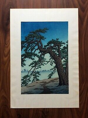"KAWASE HASUI JAPANESE WOODBLOCK PRINT ""Misty Morning At Yotsuya"""