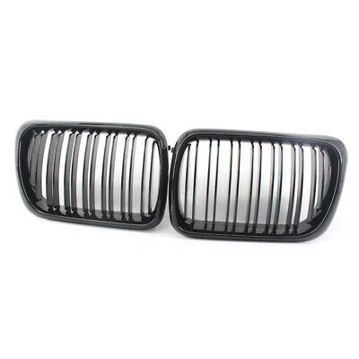 For BMW 3-Series E36 1997-1999 Gloss Black Double Slat Front Racing Grille PAIR