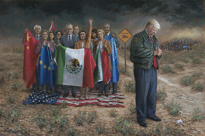 Jon McNaughton EXPOSE THE TRUTH 20x16 S//N Canvas Donald Trump w//Magnifying Glass