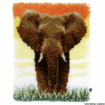 Vervaco Latch hook rug kit Elephant in the savanna II, DIY