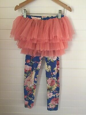Rock Your Baby / Kid Floral Tutu Leggings - Size 7 years (#D1618)