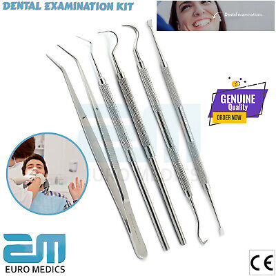 Dental Tooth Cleaning Kit Dentist Tweezers Oral Tool Calculus Plaque Remover Set