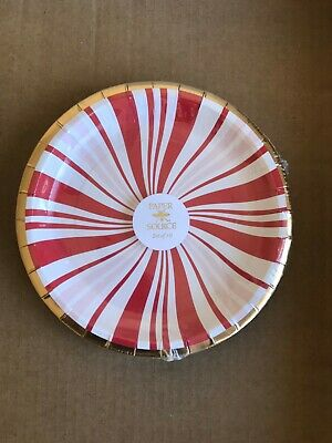 Paper Source Candy Cane Peppermint Holiday Christmas Small Paper Plates Set 10