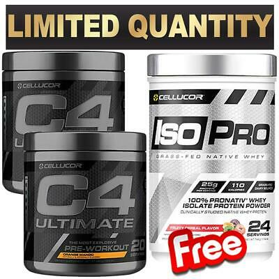 2 X C4 Ultimate Pre Workout 20 Serve Free Cellucor Isopro Wpi Grass Fed 1.7Lb