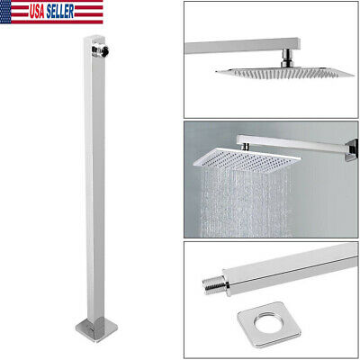 """HOT 24""""60cm Square Chrome Rainfall Shower Head Extension Arm Wall Mounted Pipe"""