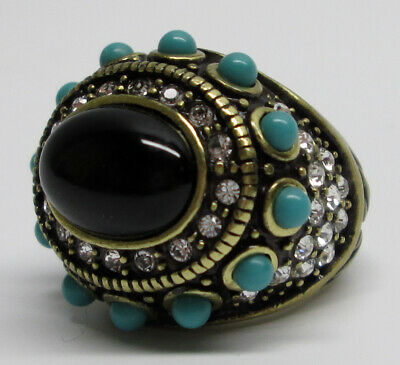 HEIDI DAUS White Crystal & Black/Turquoise Glass SUIT YOUR TASTE Ring Size 5