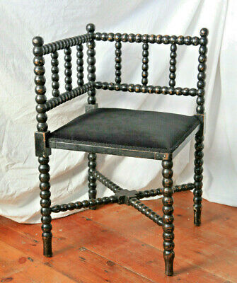 Arts & Crafts Morris Style bobbin turned corner chair, charming original paint.