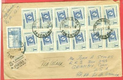 Argentina Topic STAMP on STAMP Block of 8 & 4 used on Registered cover USA 1959