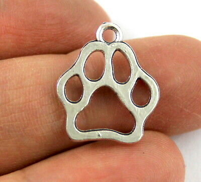 Antique Silver Tibetan Metal PAW PRINT Animal Charms Beads Crafts Cards Pet