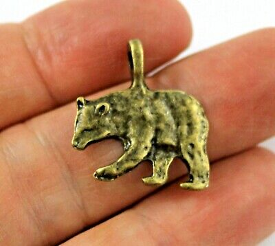 Antique Bronze Tibetan Metal BEAR Alpine Forest Charms Pendant Beads Craft Cards