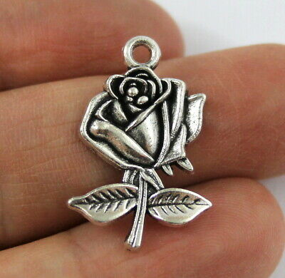 Antique Silver Tibetan Metal ROSE Flower Charms Pendant Beads Crafts Cards Large