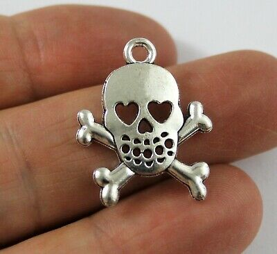 Antique Silver Tibetan Metal SKULL CROSS BONES Heart Charms Pendant Beads Cards