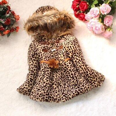 Toddler Kids Baby Girls Warm outerwear leopard print coat Newborn Winter Clothes