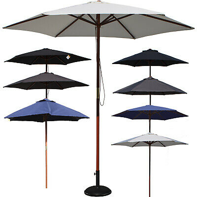 Wooden Parasols Sun Shade Umbrella Uv Protection Outdoor Garden Patio Furniture
