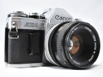 Canon AE-1 Program 35mm  Film SLR Camera Body With 50mm f1.8 Lens From JAPAN