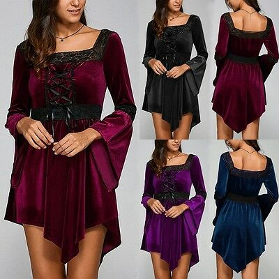 Women Lace Up Gothic Steampunk Flared Sleeve Shirt Tops Plus Size Irregular Tees