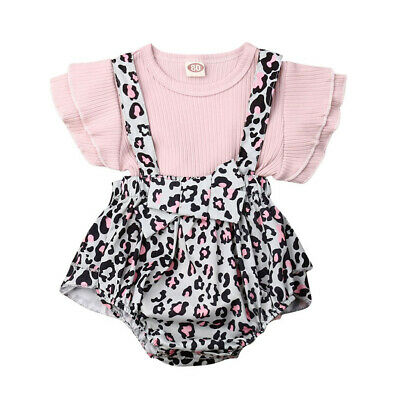 Cute Newborn Infant Baby Girl Clothes Ruffle Top Shorts Overalls Bow Outfit Set