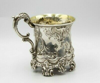 Sterling silver Victorian heavily patterned christening cup by Reid & son 1846