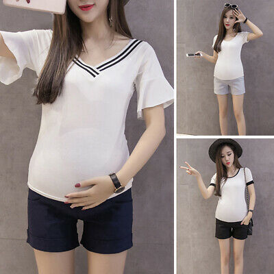 Shorts Bottoms Lady Pregnant Maternity High waist Stretchy Loose Cotton Blends