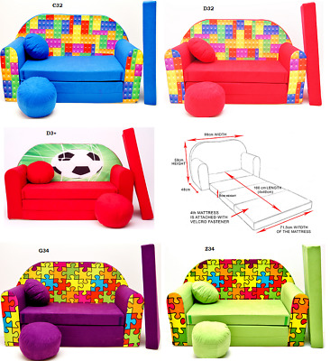 Kids Sofa Bed Sleepover Futon  Cotton Cover With Footstool And Cushion Games