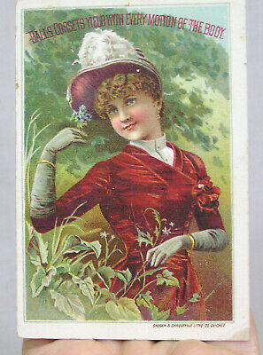 Vtg Victorian Trade Card Balls Corsets Lady in Red Dress 1880s