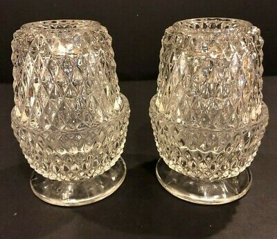 """Lot Of 2 Vintage Crystal Clear Glass Fairy Lamp Diamond Cut Glimmer Light 5.25"""""""