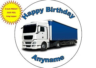24 Personalised Pre-Cut Lorry HGV Edible Cupcake Toppers Birthday Son Boys Mens