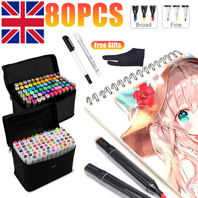 80x Colours Twin Tip Oily Alcohol MARKER PENS Graphic Sketch Art Markers + Gifts