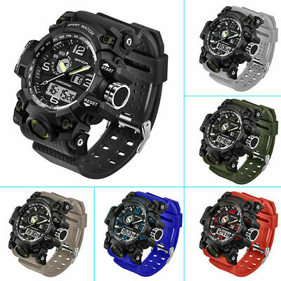 Mens Waterproof Sports Multifunctional Big Dial Silicone Band Wrist Watche E1R2