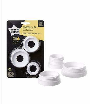 Tommee Tippee Express and Go Breast Pump Adapters, Various sizes, Pack of 3