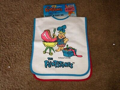 Vintage 1994 The Flintstones terry cloth bib lot of 2 NWT
