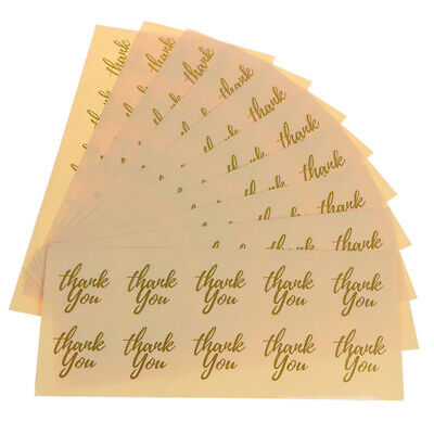 GOLD HEART SHAPE Thank You Gift Stickers Adhesive Foil