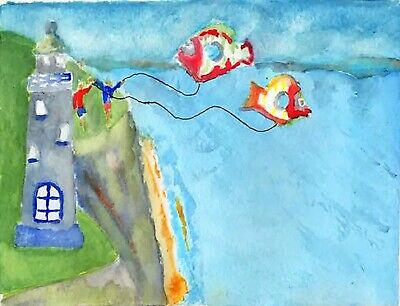 watercolour painting on a quality paper original seaside lighthouse kites