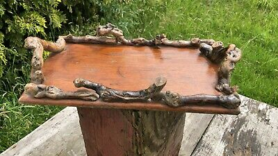 Beautiful Vintage Handmade Wooden Serving Tray With Wooden Handles *