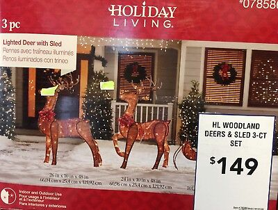 10ft+ (3PC) PRE-LIT Woodland Deer Sled -70 clear bulbs In/Outdoor NIB yard decor