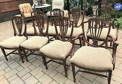 Mahogany Hepplewhite Style Shield Back Dining Chairs Upholstered Seats Set of 8