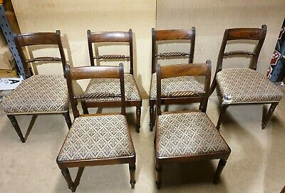 Set of 6x Antique Regency Hand Carved Rope Back Dining Chairs