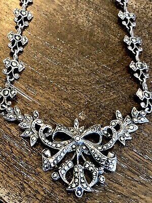 Antique Art Deco Sterling Silver Articulated Marcasite Necklace 1900's Signed