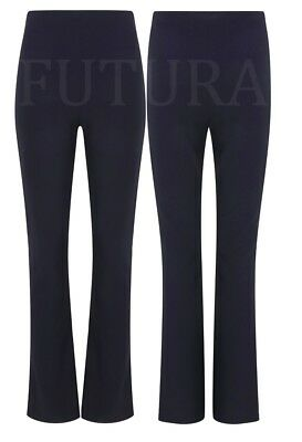 2 x  WOMENS BOOTLEG LADIES BOOTCUT STRETCH FINELY RIBBED WORK TROUSERS
