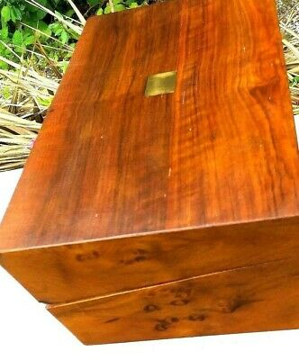Lovey Burr walnut  Writing slope With a good patina .     Glass & brass Inkwell