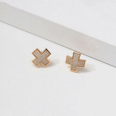 Micro Pave CZ Gold Plated Criss Cross X Stud Earrings Women Gold Post Studs