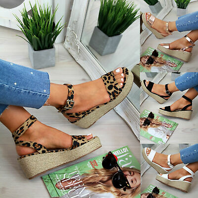 Women Ankle Strap Flatform Wedges Shoes Espadrilles Platform Sandals Studs Shoes