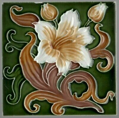 Original reclaimed antique tile Art Nouveau Majolica Hibiscus Flower Richards