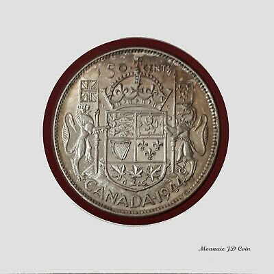 1944 Canada 50 Cent 80% silver Coin Narrow Date 4 Great Condition #BC38