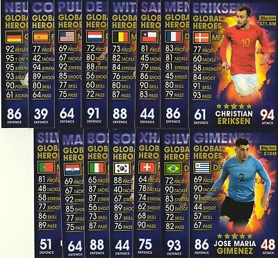 Topps Match Attax 101 complete full sets of 15 Homegrown Heroes or Global Heroes