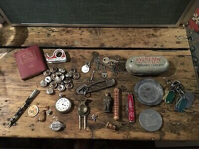 Men's Vintage Junk Drawer Collectors Lot Buttons Military Inkwell
